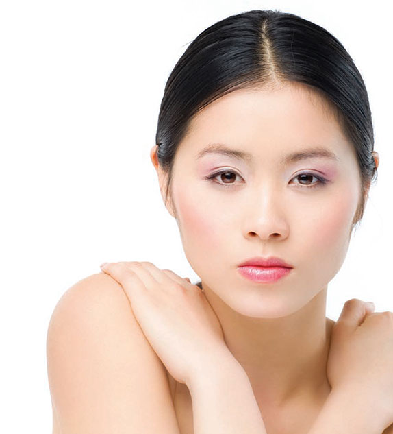 Asian woman with natural skin